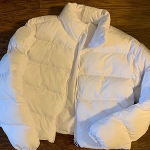 Fabletics white puffer coat